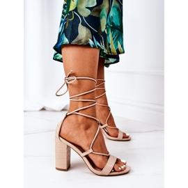 PS1 Wiązane Sandały Na Słupku Beżowe Catwalk beżowy 6