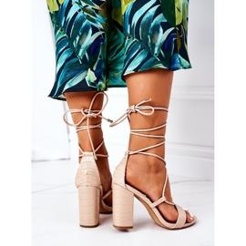 PS1 Wiązane Sandały Na Słupku Beżowe Catwalk beżowy 5