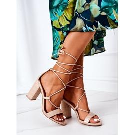 PS1 Wiązane Sandały Na Słupku Beżowe Catwalk beżowy 1