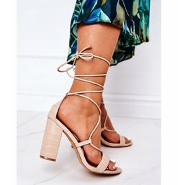 PS1 Wiązane Sandały Na Słupku Beżowe Catwalk beżowy 2