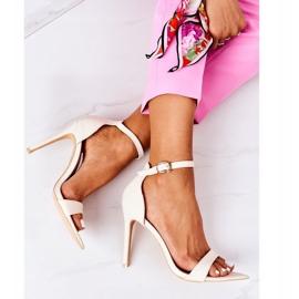 Eleganckie Sandały Na Szpilce Lu Boo Beżowe beżowy 1