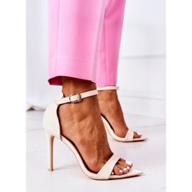 Eleganckie Sandały Na Szpilce Lu Boo Beżowe beżowy 3