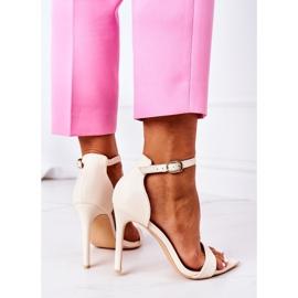 Eleganckie Sandały Na Szpilce Lu Boo Beżowe beżowy 4