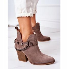 Welurowe Botki Na Słupku Lewski Shoes 2880 Brązowe 6