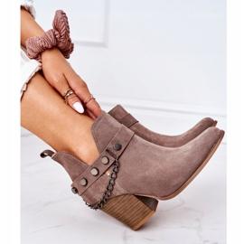 Welurowe Botki Na Słupku Lewski Shoes 2880 Brązowe 3