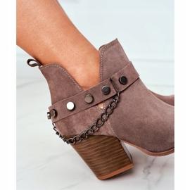 Welurowe Botki Na Słupku Lewski Shoes 2880 Brązowe 2