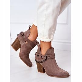Welurowe Botki Na Słupku Lewski Shoes 2880 Brązowe 5