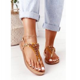 Sandały Japonki Z Kamieniami Lu Boo Złote złoty 3