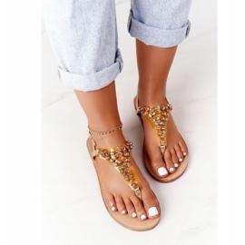 Sandały Japonki Z Kamieniami Lu Boo Złote złoty 1