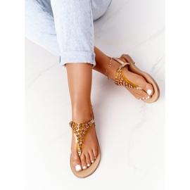 Sandały Japonki Z Kamieniami Lu Boo Złote złoty 5