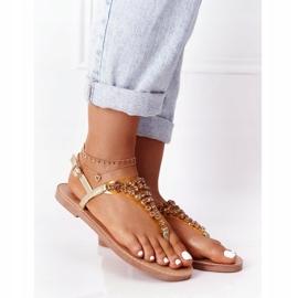 Sandały Japonki Z Kamieniami Lu Boo Złote złoty 2