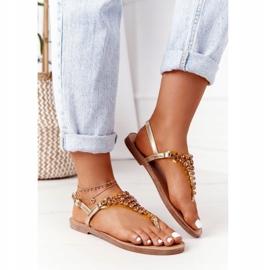 Sandały Japonki Z Kamieniami Lu Boo Złote złoty 6