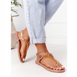 Sandały Japonki Z Kamieniami Lu Boo Różowe Złoto złoty 4