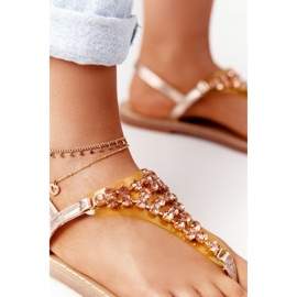 Sandały Japonki Z Kamieniami Lu Boo Różowe Złoto złoty 1