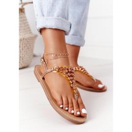 Sandały Japonki Z Kamieniami Lu Boo Różowe Złoto złoty 3