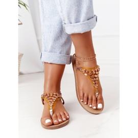 Sandały Japonki Z Kamieniami Lu Boo Różowe Złoto złoty 6