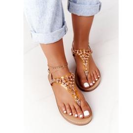 Sandały Japonki Z Kamieniami Lu Boo Różowe Złoto złoty 5