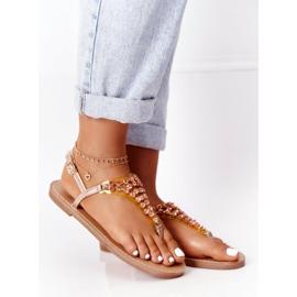 Sandały Japonki Z Kamieniami Lu Boo Różowe Złoto złoty 2