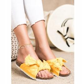 Forever Folie Wygodne Tekstylne Klapki żółte 3