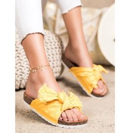 Forever Folie Wygodne Tekstylne Klapki żółte 1