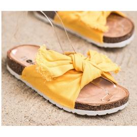 Forever Folie Wygodne Tekstylne Klapki żółte 2