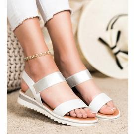 Best Shoes Modne Wsuwane Sandały srebrny 3