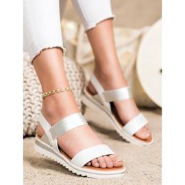 Best Shoes Modne Wsuwane Sandały srebrny 1