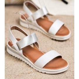 Best Shoes Modne Wsuwane Sandały srebrny 2