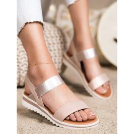 Best Shoes Modne Wsuwane Sandały różowe złoty 3