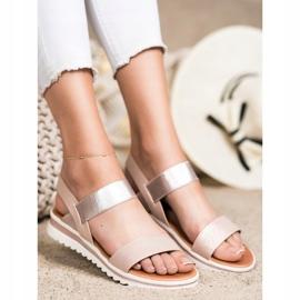 Best Shoes Modne Wsuwane Sandały różowe złoty 1