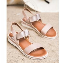 Best Shoes Modne Wsuwane Sandały różowe złoty 2