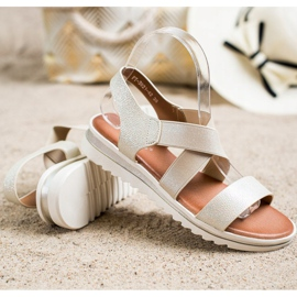 Best Shoes Wsuwane Sandały Z Brokatem złoty 1