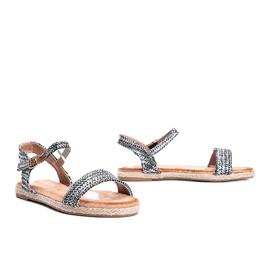 Czarno srebrne sandały damskie Baleria czarne srebrny 1