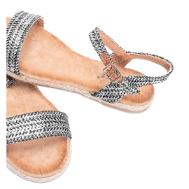 Czarno srebrne sandały damskie Baleria czarne srebrny 2
