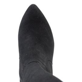 Marco Shoes Czarne skórzane kozaki w szpic z dodatkiem w kwiaty 8