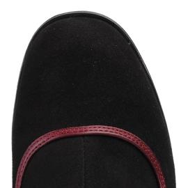 Marco Shoes Skórzane kozaki z czarnego zamszu z fioletowym obcasem oraz fioletowymi wstawkami fioletowe 5