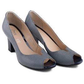 Marco Shoes czółenka granatowe skórzane + biel białe 6