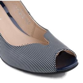 Marco Shoes czółenka granatowe skórzane + biel białe 5