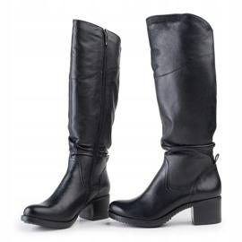 Marco Shoes Czarne kozaki ze skóry naturalnej 2