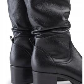Marco Shoes Czarne kozaki ze skóry naturalnej 3