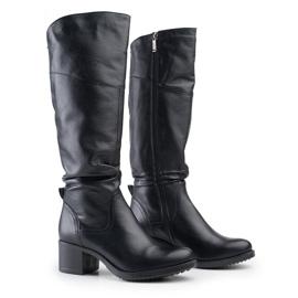 Marco Shoes Czarne kozaki ze skóry naturalnej 6