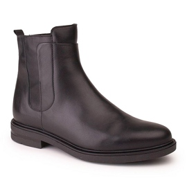 Marco Shoes Lekkie botki na płaskim spodzie ze skóry licowej czarnej 1