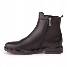 Marco Shoes Lekkie botki na płaskim spodzie ze skóry licowej czarnej 2