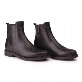 Marco Shoes Lekkie botki na płaskim spodzie ze skóry licowej czarnej 3