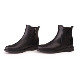 Marco Shoes Lekkie botki na płaskim spodzie ze skóry licowej czarnej 4