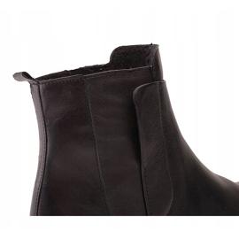 Marco Shoes Lekkie botki na płaskim spodzie ze skóry licowej czarnej 5