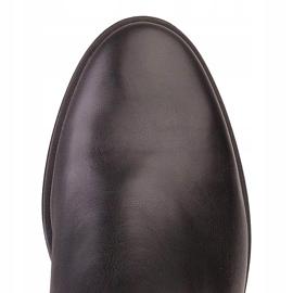 Marco Shoes Lekkie botki na płaskim spodzie ze skóry licowej czarnej 6