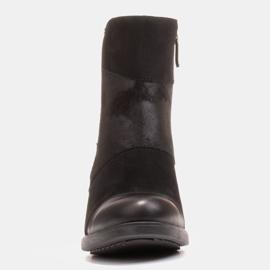 Marco Shoes Komfortowe damskie botki w połączeniu skóry licowej i nubuku czarne 1