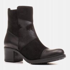 Marco Shoes Komfortowe damskie botki w połączeniu skóry licowej i nubuku czarne 2