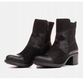 Marco Shoes Komfortowe damskie botki w połączeniu skóry licowej i nubuku czarne 3